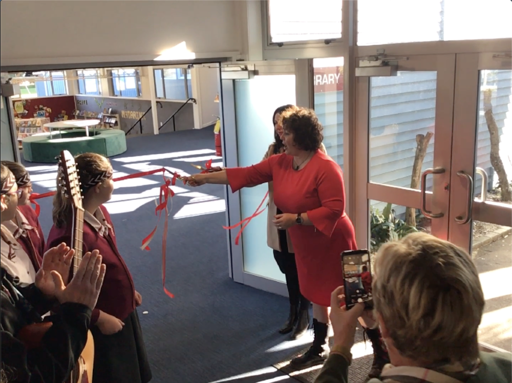 Library opening ribbon cutting